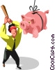 Businessman hitting a piggy bank Pi�ata Vector Clip Art graphic