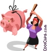 Vector Clipart image  of a woman hitting a piggy bank