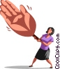 Woman shaking a large hand Vector Clipart picture