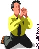 Vector Clipart graphic  of a Businessman begging