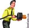 Vector Clipart illustration  of a Businessman with a plug