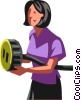 Businesswoman with a plug Vector Clipart picture