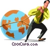 Vector Clip Art image  of a Businessman dragging the world