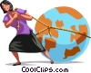 Businesswoman dragging the world Vector Clip Art picture