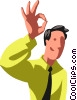 Vector Clip Art graphic  of a Businessman giving the OK sign