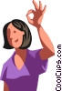Woman giving the OK sign Vector Clipart image