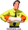 Businessman with a life preserver Vector Clipart illustration