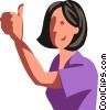 Woman giving the thumbs up Vector Clip Art image
