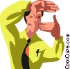 Vector Clip Art picture  of a Businessman focusing in
