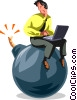 Vector Clipart graphic  of a Businessman sitting on a bomb