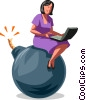 Businesswoman sitting on a bomb Vector Clipart illustration