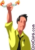 Vector Clip Art graphic  of a man burning the candle on both