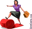 Businesswoman rolling out the red carpet Vector Clipart illustration