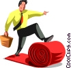 Businessman rolling out the red carpet Vector Clipart illustration