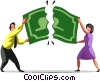 Business people tearing a dollar bill Vector Clipart picture