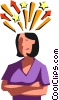 Vector Clip Art graphic  of a Businesswoman bursting with