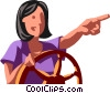 Businesswoman at the helm Vector Clipart picture