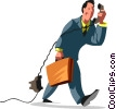Vector Clip Art graphic  of a Men on the Phone at Work