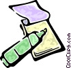 Vector Clip Art picture  of a notepad and a maker
