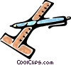 Vector Clipart image  of a t-square and a pen