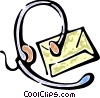 Vector Clip Art image  of a telephone headset