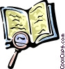 Vector Clip Art graphic  of a magnifying glass and a book