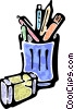 jar of assorted pens and an eraser Vector Clipart graphic
