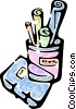 Vector Clip Art graphic  of a notepad and assorted pens