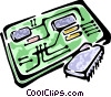 circuit board and a computer chip Vector Clipart picture
