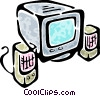 Vector Clip Art graphic  of a monitor and computer speakers