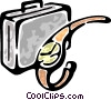 suitcase and a wristwatch Vector Clip Art picture