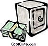 Vector Clip Art image  of a dollar bills and a safe