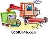 Farmers harvesting crops Vector Clip Art picture