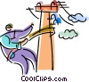 Hydro worker on pole Vector Clip Art picture