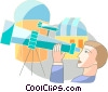 Astronomer with telescopes Vector Clipart illustration