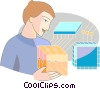 Vector Clipart illustration  of a Computer Service and Repair