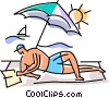 Man reading a book on the beach Vector Clip Art picture