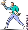 Vector Clip Art graphic  of a waiter serving food