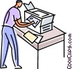 Vector Clipart picture  of a man at copy machine