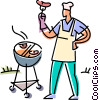 man preparing food on the barbecue Vector Clipart image