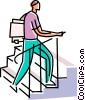 man climbing stairs with file folders Vector Clip Art picture