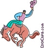 Vector Clipart image  of a cowboy riding a bucking bronco