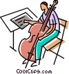 Vector Clipart illustration  of a cellist looking over his music