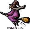 Vector Clip Art graphic  of a witch flying on her broom