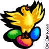 Vector Clipart graphic  of a chick standing on Easter eggs