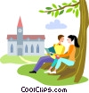 Students reading under tree Vector Clipart illustration