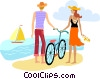 Vector Clip Art graphic  of a Beach Scenes