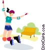 Vector Clip Art picture  of a Rollerblading
