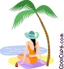 Woman sitting on the beach Vector Clipart picture