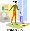 Vector Clipart picture  of a Vacuuming